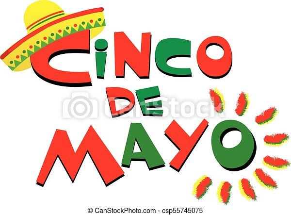 Cinco de Mayo Colorful Logo with Sombrero - csp55745075