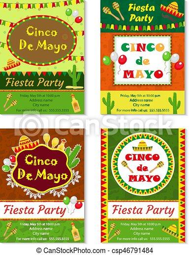Cinco De Mayo Invitation Template Flyer Mexican Holiday Postcard Vector Illustration