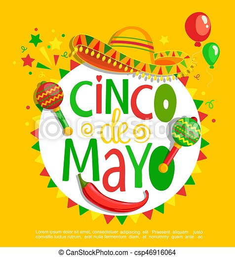 Cinco De Mayo Lettering On Holiday Background