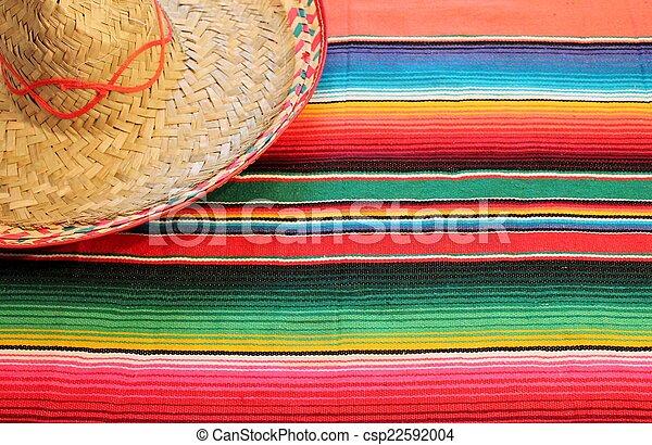 cinco de mayo Mexican fiesta serape poncho blanket sombrero - csp22592004