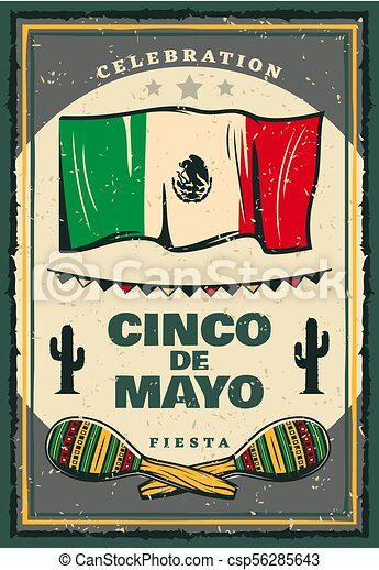 cinco de mayo mexican holiday retro banner for invitation template
