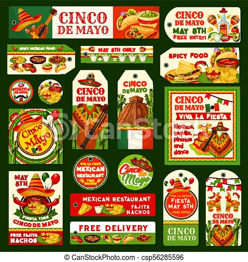 Cinco de mayo mexican vector fiesta tags. Cinco de mayo greeting ...