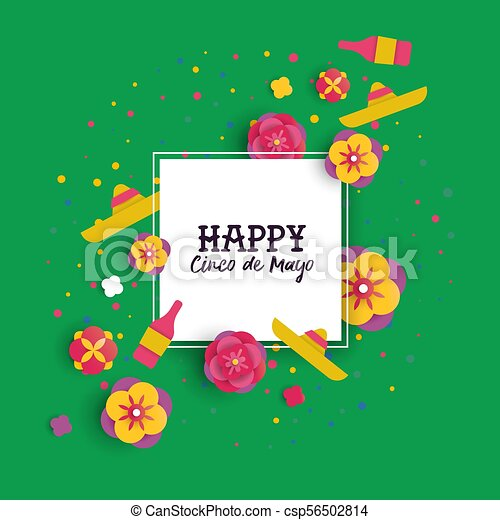 Cinco de mayo paper cut flower frame greeting card happy cinco de cinco de mayo paper cut flower frame greeting card csp56502814 m4hsunfo