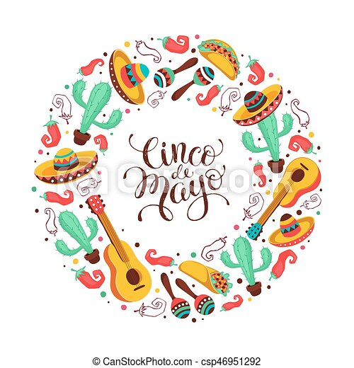 Cinco de mayo greeting card in circle shape mexican culture cinco de mayo greeting card in circle shape mexican culture attributes collection cinco de mayo poster with guitar sombrero maracas cactus and jalapeno m4hsunfo