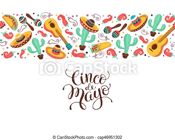 Cinco de mayo poster in horizontal stripe composition mexican cinco de mayo poster in horizontal stripe composition mexican culture symbols collection guitar sombrero maracas cactus and jalapeno isolated on white m4hsunfo