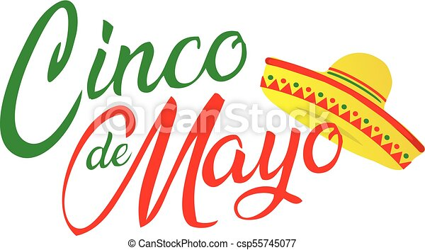 Cinco de Mayo Script with Sombrero - csp55745077
