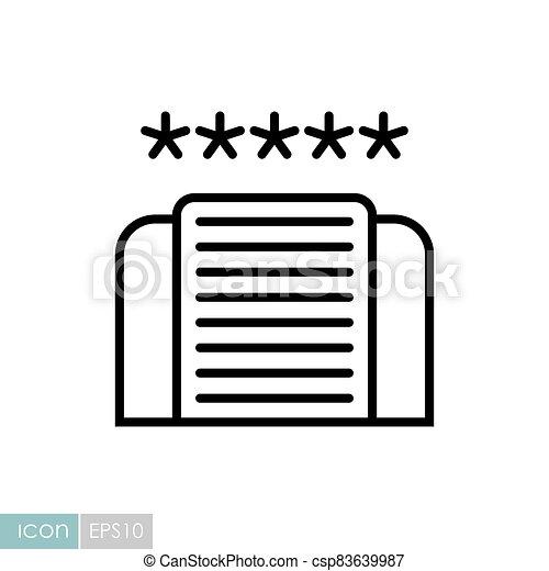 cinco, icono, estrella, vector, hotel - csp83639987