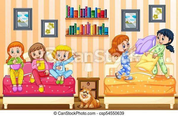 Cinco Ninas Juego Dormitorio Cinco Ninas Juego Ilustracion