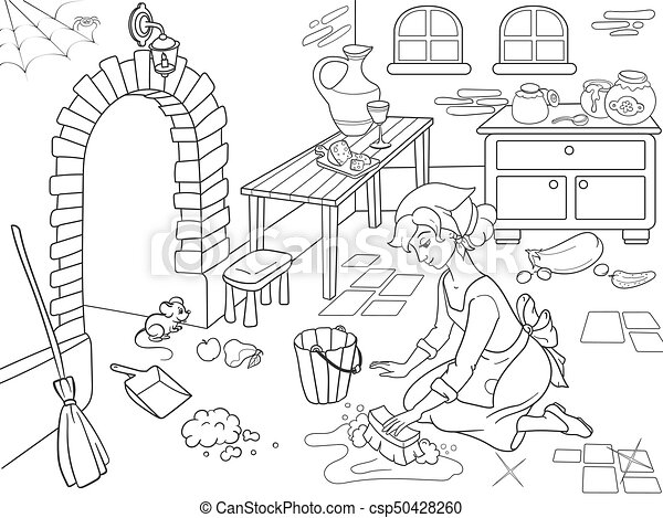 Cinderella Cleans Up The Kitchen Girl On Floor Around Mess Vector Of Black And White Lines Cartoon Coloring Book