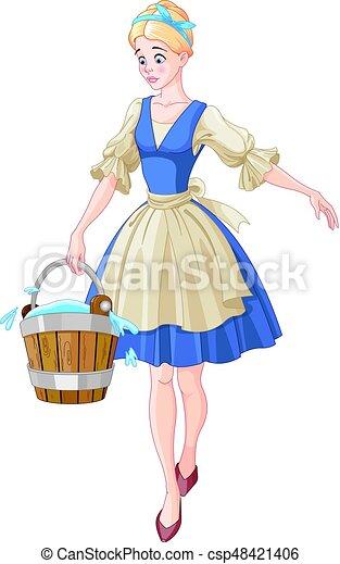 Cinderella Holds a Bucket - csp48421406