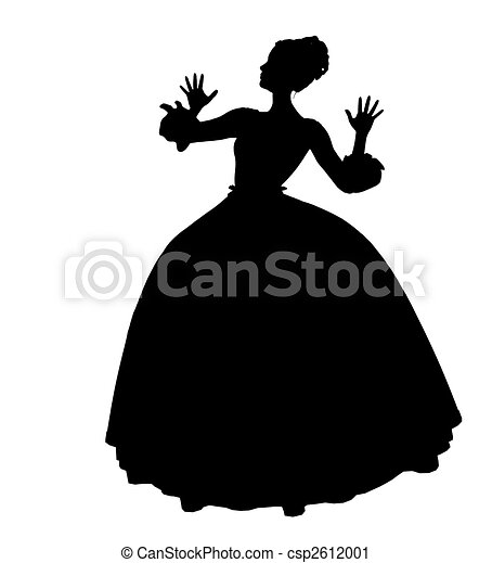 Cinderella Silhouette Illustration - csp2612001