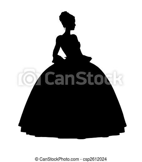 Cinderella Silhouette Illustration - csp2612024