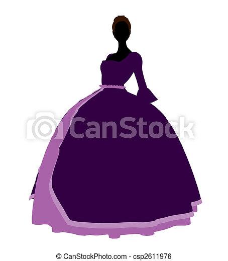 Cinderella Silhouette Illustration - csp2611976