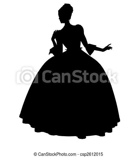 Cinderella Silhouette Illustration - csp2612015