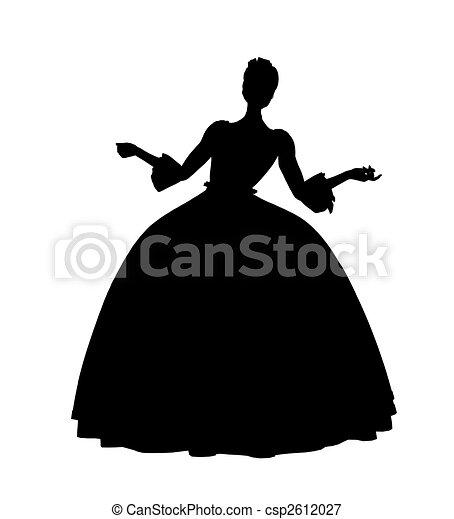 Cinderella Silhouette Illustration - csp2612027