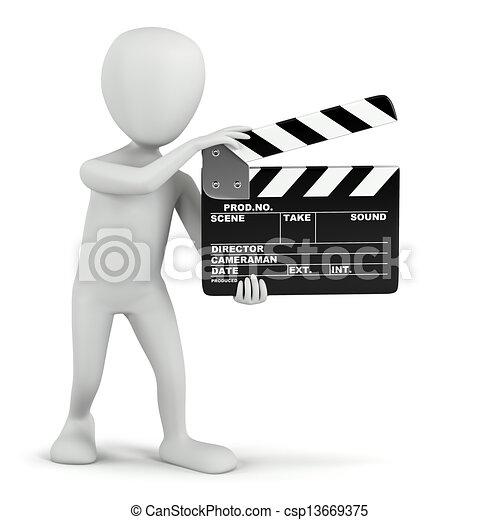 Gente pequeña en 3D, claque de cine. - csp13669375