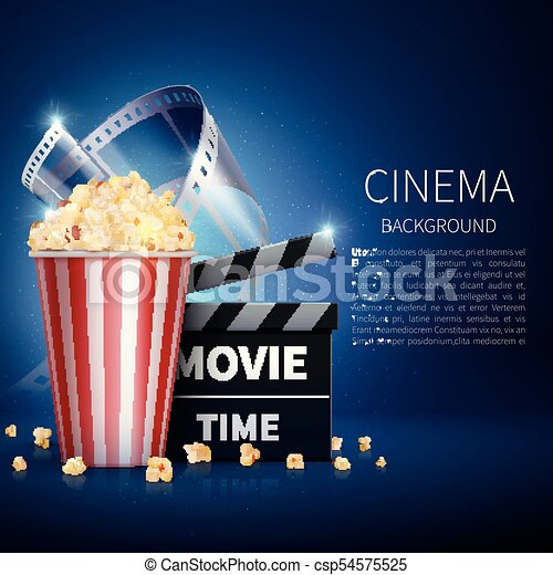 Cinema 3d Movie Vector Background With Popcorn And Vintage Film Retro Poster
