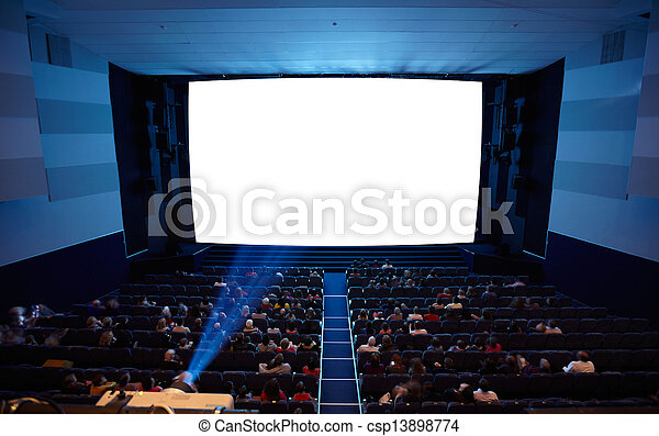 Cinema auditorium with light of projector. - csp13898774