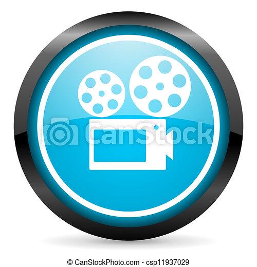 cinema blue glossy circle icon on white background - csp11937029