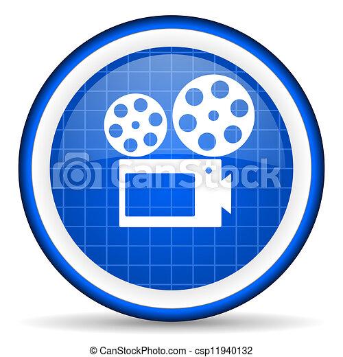 cinema blue glossy icon on white background - csp11940132