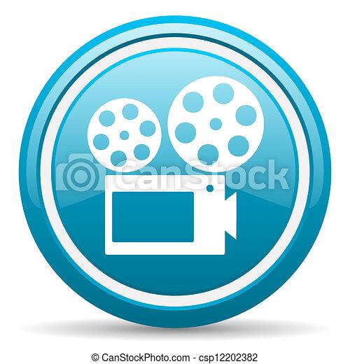 cinema blue glossy icon on white background - csp12202382