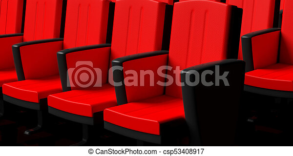 Cinema Chairs Background, Perspective View. 3d Illustration