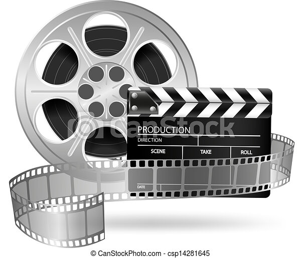 Cinema clap and film reel isolated  - csp14281645