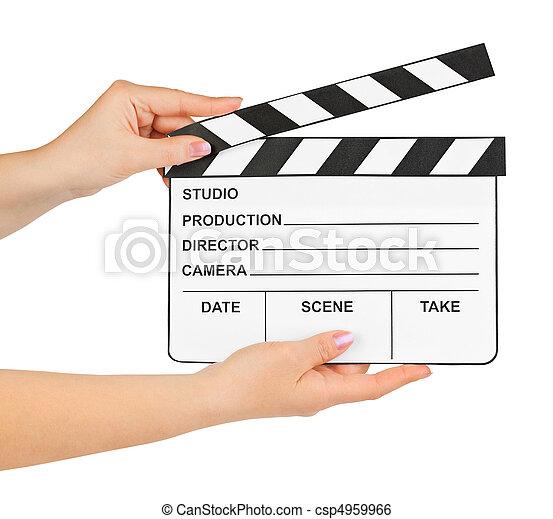 Cinema clapboard in hands - csp4959966