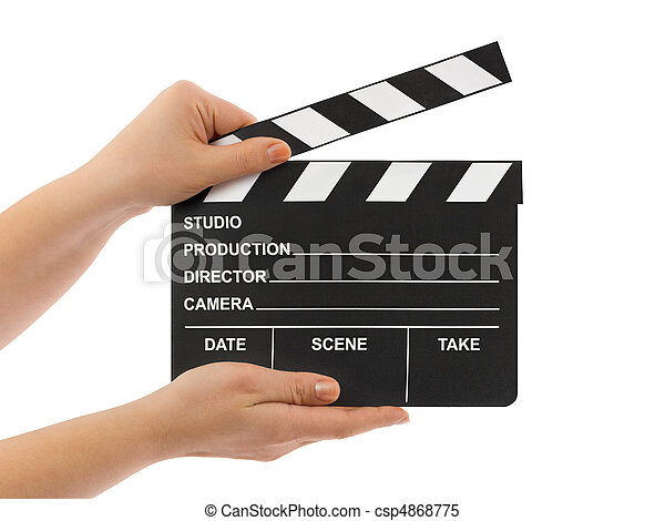 Cinema clapboard in hands - csp4868775