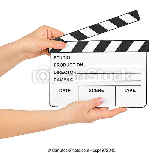 Cinema clapboard in hands - csp4972045