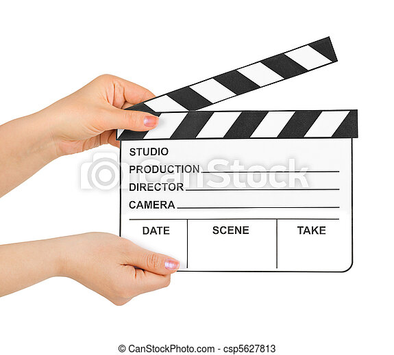 Cinema clapboard in hands - csp5627813