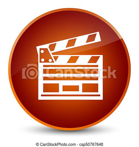 Cinema clip icon elegant brown round button - csp50767648