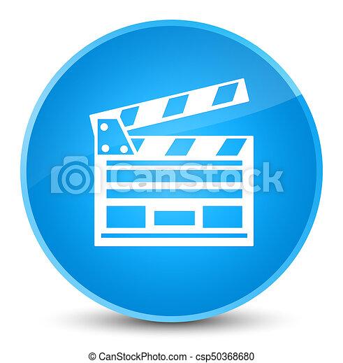 Cinema clip icon elegant cyan blue round button - csp50368680