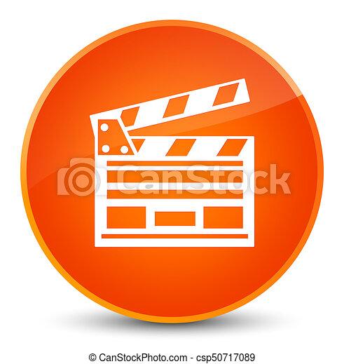 Cinema clip icon elegant orange round button - csp50717089