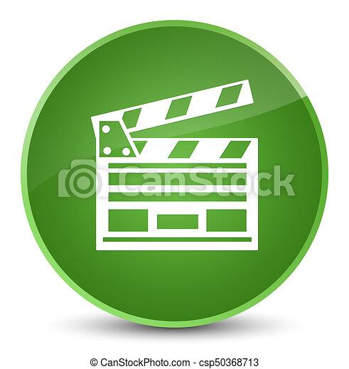 Cinema clip icon elegant soft green round button - csp50368713