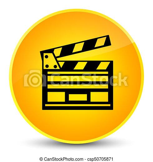 Cinema clip icon elegant yellow round button - csp50705871