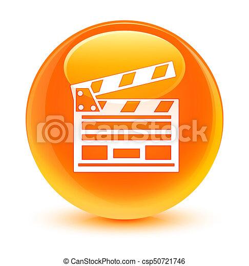 Cinema clip icon glassy orange round button - csp50721746