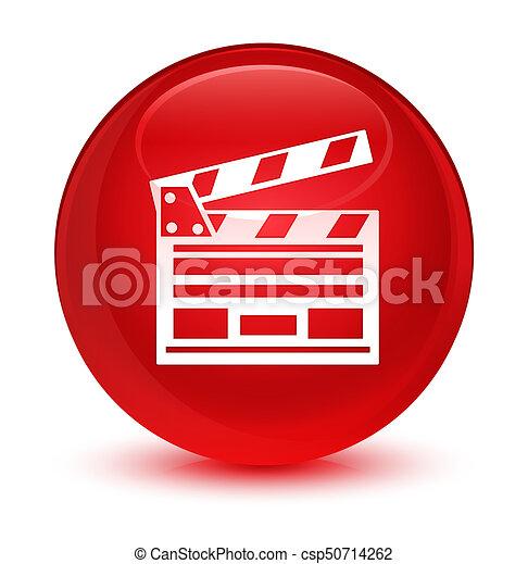 Cinema clip icon glassy red round button - csp50714262