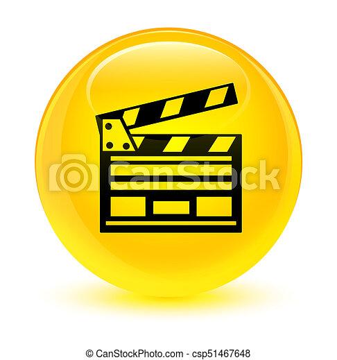 Cinema clip icon glassy yellow round button - csp51467648