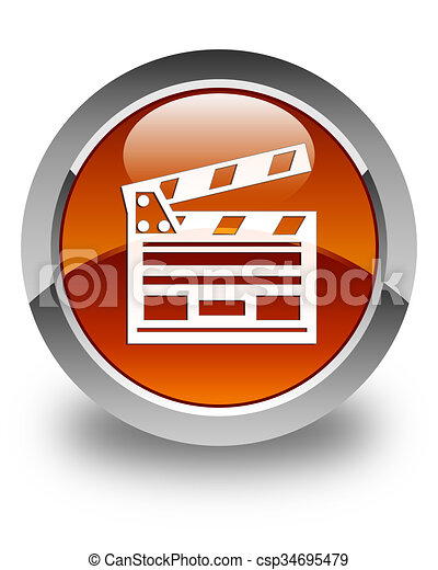 Cinema clip icon glossy brown round button - csp34695479