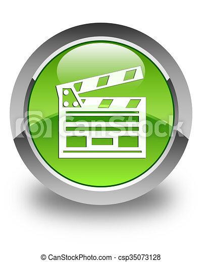 Cinema clip icon glossy green round button - csp35073128