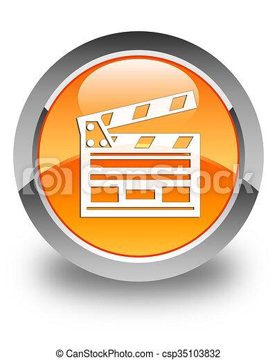 Cinema clip icon glossy orange round button - csp35103832