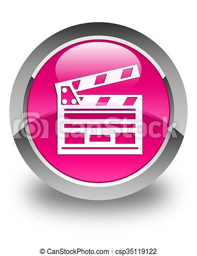 Cinema clip icon glossy pink round button - csp35119122