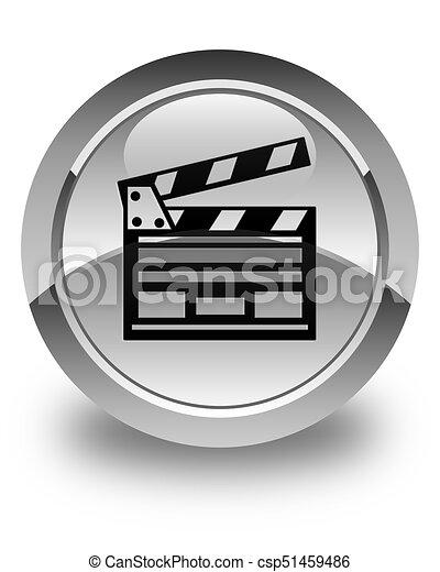 Cinema clip icon glossy white round button - csp51459486