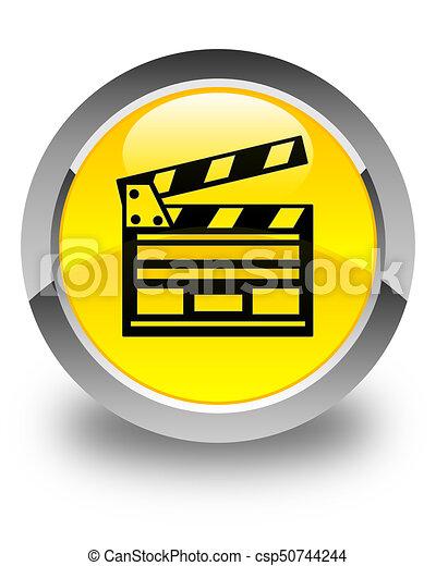Cinema clip icon glossy yellow round button - csp50744244