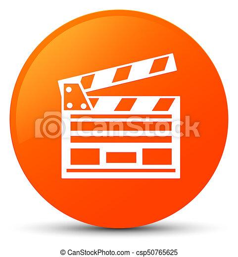 Cinema clip icon orange round button - csp50765625