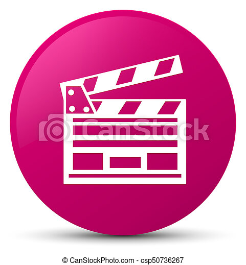 Cinema clip icon pink round button - csp50736267