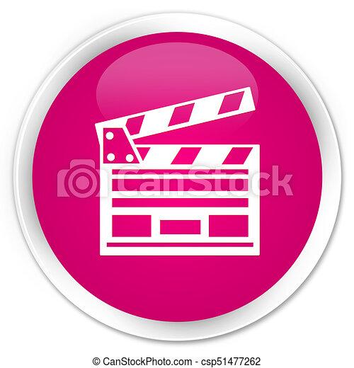 Cinema clip icon premium pink round button - csp51477262