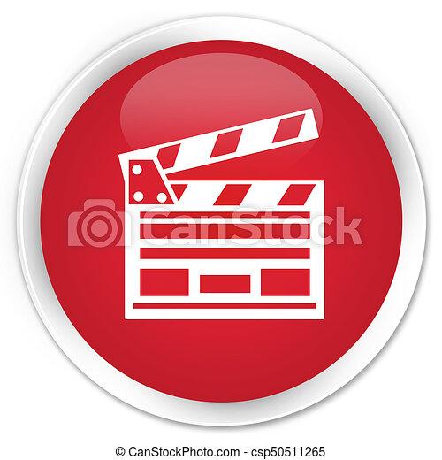 Cinema clip icon premium red round button - csp50511265