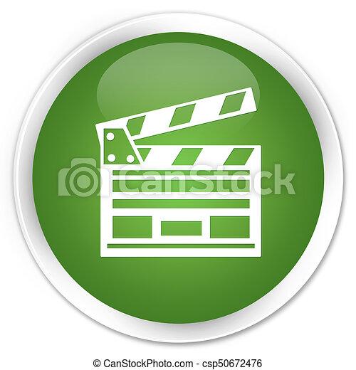 Cinema clip icon premium soft green round button - csp50672476